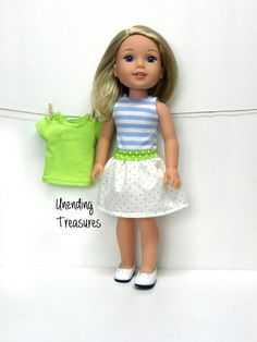 Tops and skirt outfit by Unendingtreasures on Etsy. Made using the LJC Picture Day Tee and Skirt for WellieWishers Dolls pattern, found at http://www.pixiefaire.com/products/picture-day-tee-and-skirt-for-welliewishers-dolls. #pixiefaire #libertyjane #picturedayteeandskirtforwelliewishersdolls