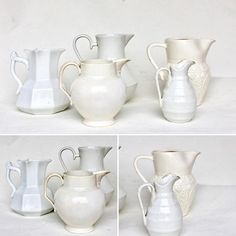 Collection of 5 white antique pitcher. White earthenware