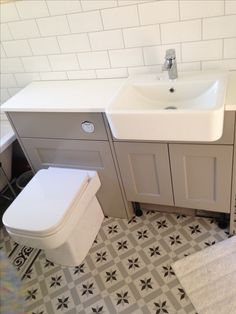 Roper Rhodes Burford Mocha, Geo bathroom suite, Fired Earth Patisserie Sucre floor tiles, white metro tiles, bathroom renovation, Propertylc