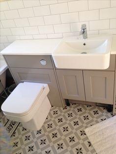 Roper Rhodes Burford Mocha, Geo bathroom suite, Fired Earth Patisserie Sucre floor tiles, white metro tiles, bathroom renovation, Propertylc