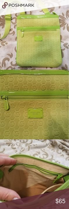 Michael Kors ~ Lime Green Neoprene Crossbody bag Michael Kors, NWOT.  This is such a fun & bright design featuring the MK monogram in a neoprene finish.  Neon lime patent leather accents just add class & beauty to this bag.  A rectangular logo placard sits at the front exterior; it's directly beneath a single open pocket with a zip closure.  A single woven shoulder strap is fully adjustable.  Light tan suede lining including a dual pocket at one interior wall & a zippered pocket on the…