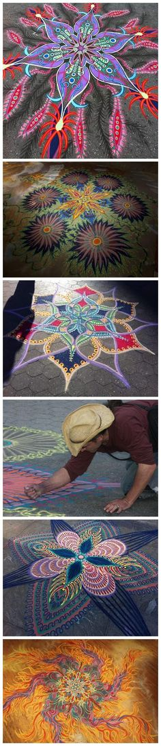 Sidewalk chalk art. Beautiful design and the colors are fantastic!!