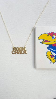 Kansas Jayhawks Rock Chalk Necklace by RuthRyanJewelry