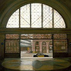 """huariqueje: """"Estacion de Francia - Amalia Avia , 1995 Spanish, Oil on panel, 86 x 86 cm """" Spanish Painters, Grain Of Sand, Madrid, Wild Flowers, Louvre, City, Building, Landscapes, Death"""