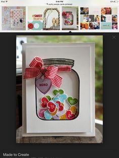 Candy heart jar card