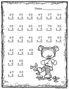 Need extra practice with multiplication? This set includes 10 pages of 2 digit by 1 digit multiplication with regrouping practice. An answer key for each page is included. Two Digit Multiplication, Multiplication Problems, Multiplication Worksheets, Math Sheets, Fourth Grade Math, Math Work, Thinking Skills, Learning Tools, Math Activities