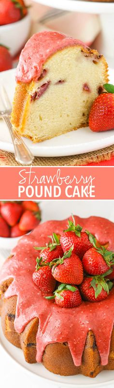 Strawberry Pound Cake - soft, dense, moist and full of strawberry flavor!