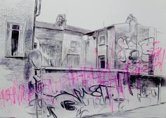 """My walks around cities take the form of a psychogeographic investigation, a process of subjectively mapping the city in its intensive state of movement and flux"". Building Art, Building Drawing, A Darker Shade Of Magic, Art Alevel, Graffiti Wall, A Level Art, Sense Of Place, Gcse Art, Environmental Art"