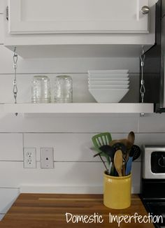 Floating Kitchen Shelving with an old window