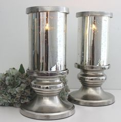 Light up your room naturally with aromatic scents. This beautiful Hurricane is made from Mercury glass #contemporary #french #candle #romantic