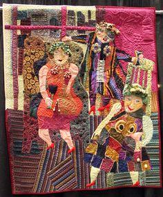 """Fiber and Textile, Pamela Allen, Artist, Three women at the Hilton, quilt, 2009, 48""""X 40"""", http://pamelart2.homestead.com/quiltythings.html"""