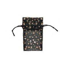 Organza Drawstring Gift Bags Black w/ Gold Stars 3x4 in. * Read more  at the image link.