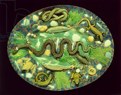 Oval Dish With Fish And Reptiles, reproduction of Bernard Palissy ware (earthenware)