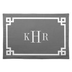 Charcoal Gray Greek Key Border Custom Monogram Placemats by jenniferstuartdesign