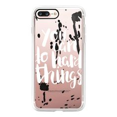 You Can Do Hard Things - iPhone 7 Case, iPhone 7 Plus Case, iPhone 7... ($40) ❤ liked on Polyvore featuring accessories, tech accessories, iphone case, slim iphone case, iphone cover case, apple iphone case and iphone cases