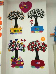 Preschool Season Charts (New) # preschool activity, # preschool art activities, # coloring pages, - - Class Decoration, School Decorations, Classroom Posters, Classroom Decor, Diy And Crafts, Crafts For Kids, Preschool Art Activities, School Murals, Paper Wall Art