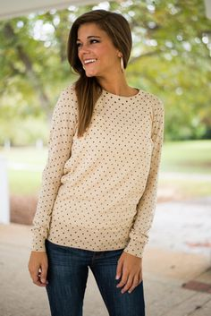 Lots Of Dots Sweater, Cream from The Mint Julep Boutique