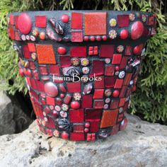 Red Mosaic Flower Pot www.twinbrooks.etsy.com