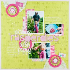 Bright, simple scrapbook layout using letters to spell a word the way a child pronounces it. Love it!