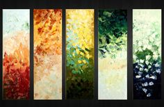 5 panels 50Original Modern Texture Abstract Large by myworldn, $360.00