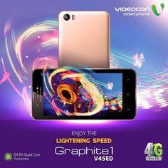 Get full on entertainment at lightening speed with 64 Bit Quad Core Processor on #Videocon Graphite1 V45ED. Explore more - http://www.videoconmobiles.com/graphite1v45ed