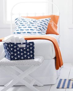 Whale sheets...love orange and blue color combo too.