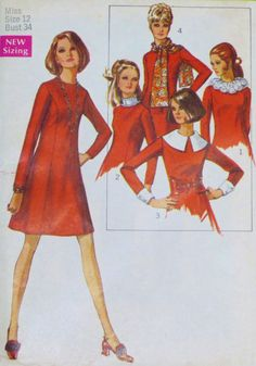 Vintage Dress With Scarf Pattern 1969 Bust 34 by linbot1 on Etsy, $10.00