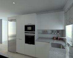 Cocina Santos Modelo Minos Laminado Seda Blanco Encimera Silestone Aluminio Nube