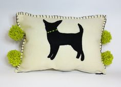 Felt Chihuahua Silhouette and Pom Pom Pillow. Felt Chihuahua Pillow - Eco Friendly Felt Applique Chihuahua Pillow Cushion - Bright Citron Green Accents Decorative Eco Friendly Felt Applique Chihuahua Pillow Cushion A fun whimsical playful pillow that can be adorable as a final touch for your sofa or bed treatment and fantastic for a child's room. The front and back are fabricated in a rich creamy ivory eco fi felt. The black Chihuahua is appliqued at the center with a bright citron green...