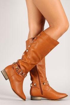 Pyramid Stud Zipper Knee High Riding Boot