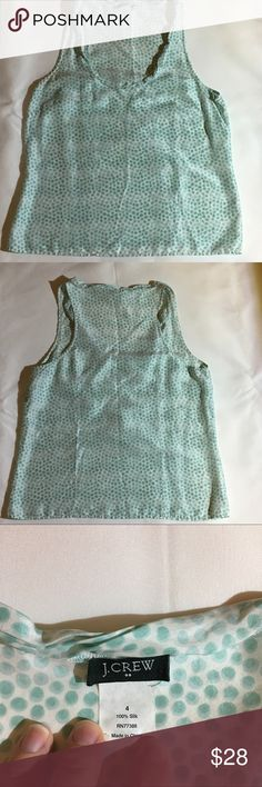 """J. Crew Silk Twyla Tank Ombré polka dot print, 4 Turquoise and white 100% silk Sleeveless  with twisted neckline and tailored darts for waist shaping. Size 4. 18"""" arm pit to arm pit, 23"""" from shoulder to hem. EUC. J. Crew Tops Blouses"""