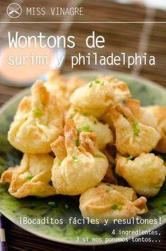 Aprende a hacer unos deliciosos wontons de surimi y philadelphia, sólo 4 ingredientes para dejar picuetos a tus invitados. Muy ricos y sencillos.