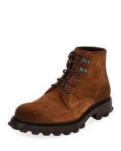 Salvatore Ferragamo  Suede Work Boot, Brown  $895.00
