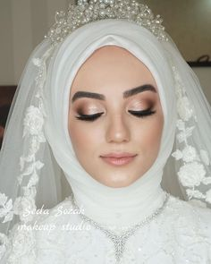 Kebaya Wedding, Muslimah Wedding Dress, Hijab Wedding Dresses, Disney Wedding Dresses, Hijab Bride, Dress Wedding, Bridal Makeup, Wedding Makeup, Wedding Hijab Styles