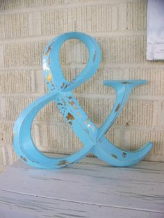 Distressed White Painted Ampersand Symbol by ShabbrusticChic, $24.00