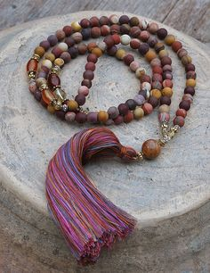 Mala necklace made of 108, 8 mm - 0.315 inch, very beautiful mookaite gemstones and decorated with citrine and carnelian - look4treasures on Etsy