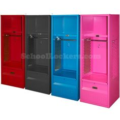 """Kids Sports Stadium Lockers for sale! These work perfectly in mudrooms as a convenient """"catch-all"""" solution. Come equipped with durable hooks, full-width coat rods, upper storage shelves and lockable foot lockers. Kids Locker, Sports Locker, Kids Sports, Garage Lockers, Lockers For Sale, Garage Entry, Boy Room, Kids Room, Locker Storage"""