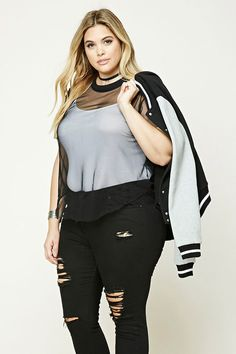 Forever 21+ - A sheer mesh knit top featuring short sleeves, curved hem, raw-cut trim, and a ribbed knit round neckline.