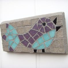 Mosaic Little Bird Wall Art by Good Afternoon Agatha. This charming little bird would be perfect to hang above a door, or any small space that needs a bit of pecking up.This is my own design, I've only made one in this colourway. Mosaic Animals, Mosaic Birds, Glass Mosaic Tiles, Mosaic Art, Bird Wall Art, Accent Pieces, Art Boards, Art Projects, Interior Decorating