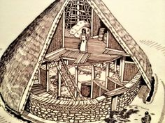 An iron age roundhouse, the protogenor of the broch tower. The experts think this was the most likly roof structure that sat atop of the broch. Archeaology shows posts holes in some brochs meaning these beams would continue from the ground floor to support the roof about the second floor. Also note the artist has included a fire on the ground floor, where did the smoke go???