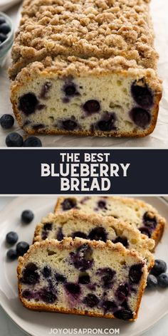 The BEST Blueberry Bread - easy dessert, sweet breakfast, brunch, or snack for afternoon tea! Blueberry bread filled with fresh blueberries topped with crumb topping. A classic! Best Blueberry Recipe, Blueberry Topping, Blueberry Bread, Tasty Bread Recipe, Quick Bread Recipes, Easy Bread, Muffin Recipes, Sweet Breakfast, Breakfast Dessert