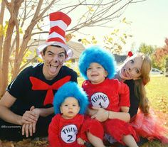 Cat in the hat themed family costumes for Halloween. Thing 1 and Thing 2 homemade costumes.