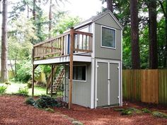 cool shed with play room? and deck up top