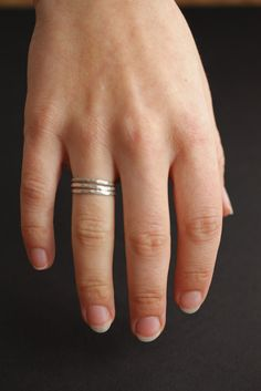Hammered 14kt White Gold Ring - wedding band, engagement ring, simple, recycled, bridal jewelry