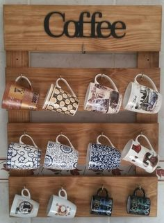 Diy Cup Holder Ideas Are Functional And Inspiring bar ideas party bevera. - Diy Cup Holder Ideas Are Functional And Inspiring bar ideas party beverage stations Diy Cup - Coffee Mug Display, Coffee Mug Holder, Coffee Bar Home, Coffee Corner, Diy Home Crafts, Diy Home Decor, Bars For Home, Pallet Furniture, Mugs