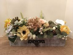 Spring and Summer Pallet Bov Floral Arrangement with Bird Nest, Eggs and Mama Bird, Mothers Day Gift, Wedding Centerpiece, Easter Arrangemen by SheilasHomeCreations on Etsy