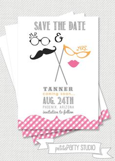 Printable Party Invitation - Mustache and Lips Invitation or Save the Date or Baby Shower - Petite Party Studio on Etsy, $15.00