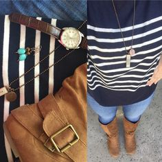 jeans and navy striped sweater -  Lemon Lane