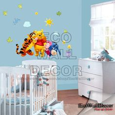 PEEL and STICK Kids Nursery Removable Vinyl Wall Sticker Mural Decal Art - Winnie the Pooh Tigger and Friend Hugging on Etsy, $20.00