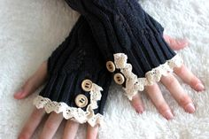 Navy Blue Fingerless Gloves Lace Buttons Argyle by Loganelenas
